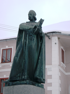 Hus with the Bible in his hand in his birth-town, Husinec, Czech Republic